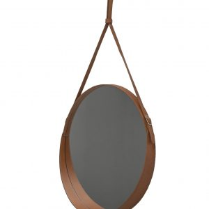 CORIUM 60: Round Wall Mirror, border frame and belt totally in Brown leather, mirror of beauty, designed by Limac Design®, 100% Made in Italy.