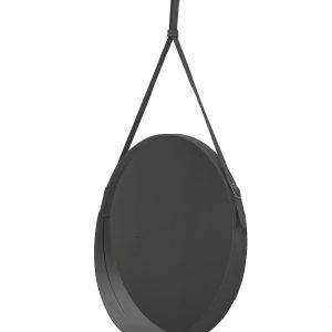 CORIUM 60: Specchio tondo da parete, cornice bordo e cintura totalmente in cuoio colore Antracite, specchio di bellezza, disegnato da Limac Design®, 100% Made in Italy.