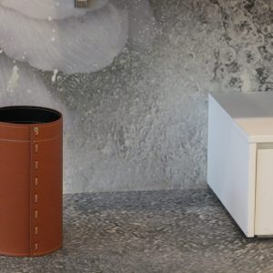 BATTISTA: Waste-paper Basket in leather taupe colour, Waste Bin, Wastebasket, Wastepaper by Limac Design®.