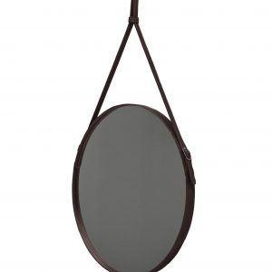 EFFIGIES 60: Specchio tondo da parete, cornice bordo e cintura totalmente in cuoio colore Testa di Moro, specchio di bellezza, disegnato da Limac Design®, 100% Made in Italy.
