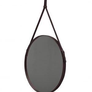 EFFIGIES 70: Specchio tondo da parete, cornice bordo e cintura totalmente in cuoio colore Testa di Moro, specchio di bellezza, disegnato da Limac Design®, 100% Made in Italy.