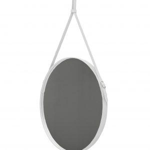 EFFIGIES 70: Specchio tondo da parete, cornice bordo e cintura totalmente in cuoio colore Bianco, specchio di bellezza, disegnato da Limac Design®, 100% Made in Italy.