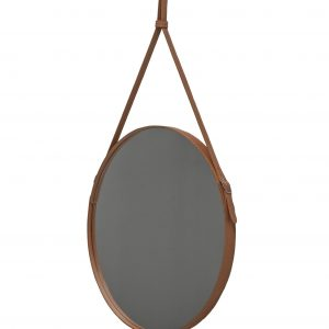 EFFIGIES 60: Round Wall Mirror, border frame and belt totally in Brown leather, mirror of beauty, designed by Limac Design®, 100% Made in Italy.