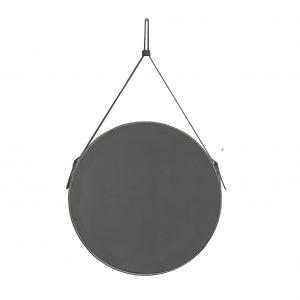 EFFIGIES 60: Specchio tondo da parete, cornice bordo e cintura totalmente in cuoio colore Antracite, specchio di bellezza, disegnato da Limac Design®, 100% Made in Italy.