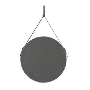 EFFIGIES 70: Round Wall Mirror, border frame and belt totally in Anthracite leather, mirror of beauty, designed by Limac Design®, 100% Made in Italy.