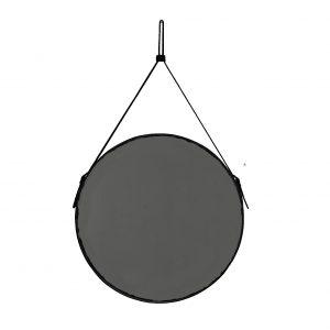 EFFIGIES 60: Specchio tondo da parete, cornice bordo e cintura totalmente in cuoio colore Nero, specchio di bellezza, disegnato da Limac Design®, 100% Made in Italy.