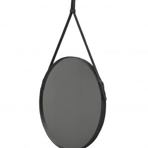 EFFIGIES 60: Round Wall Mirror, border frame and belt totally in Black leather, mirror of beauty, designed by Limac Design®, 100% Made in Italy.