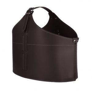 FABIA: portalegna in cuoio colore Testa di Moro, contenitore per camino, borsa porta legna, per la casa, Ufficio, Hotel, design Firestyle®, Made in Italy.