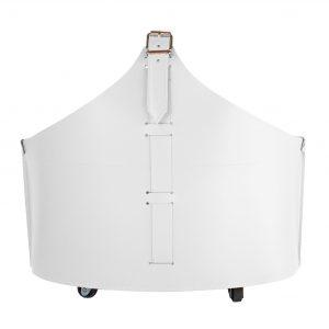 FABIA: portalegna in cuoio colore Bianco, contenitore per camino, borsa porta legna, per la casa, Ufficio, Hotel, design Firestyle®, Made in Italy..