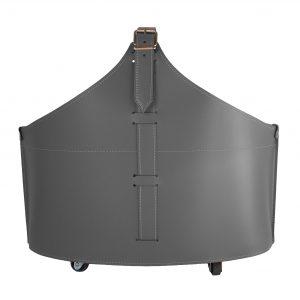 FABIA: portalegna in cuoio colore Antracite, contenitore per camino, borsa porta legna, per la casa, Ufficio, Hotel, design Firestyle®, Made in Italy.