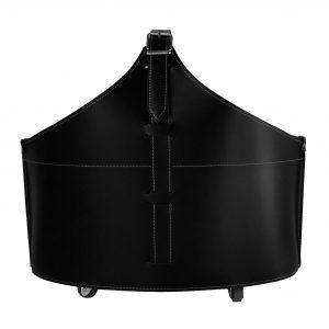 FABIA: portalegna in cuoio colore Nero, contenitore per camino, borsa porta legna, per la casa, Ufficio, Hotel, design Firestyle®, Made in Italy.