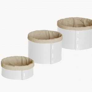 Set of 3 Storage Basket in leather FANNY