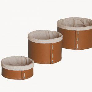 FANNY SET: Set cesti portaoggetti in cuoio colore marrone con fodera in cotone, contenitore, cestino, scatola in cuoio. Made in Italy. Limac Design®.