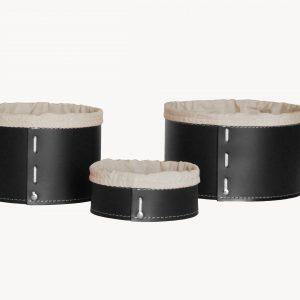 FANNY SET: Set cesti portaoggetti in cuoio colore nero con fodera in cotone, contenitore, cestino, scatola in cuoio. Made in Italy. Limac Design®.