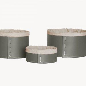 FANNY SET: Set cesti portaoggetti in cuoio colore tortora con fodera in cotone, contenitore, cestino, scatola in cuoio. Made in Italy. Limac Design®.