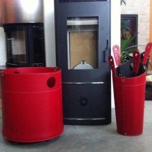 GIRO: portalegna in cuoio colore Tortora, contenitore per camino, borsa porta legna, per la casa, Ufficio, Hotel, design Firestyle®, Made in Italy.