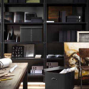 GABRY 01: Contenitore in cuoio con coperchio per cabina armadio colore Nero, con coperchio in cuoio, raccoglitore per giocattoli, archivio documenti, organizzatore, disegnato da Limac Design®, 100% Made in Italy