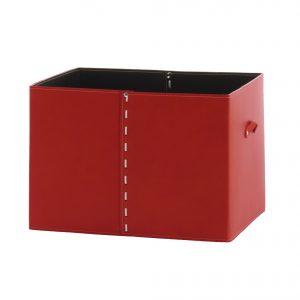 GABRY 03: Contenitore in cuoio colore Rosso, con coperchio in cuoio per cabina armadio, raccoglitore per giocattoli, archivio documenti, disegnato da Limac Design®, 100% Made in Italy
