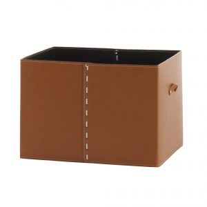 GABRY 03: Brown leather Storage box with top for walk-in closet, Laundry Basket, Organizer, Toy Storage Basket, Storage Rack, designed by Limac Design®, 100% Made in Italy
