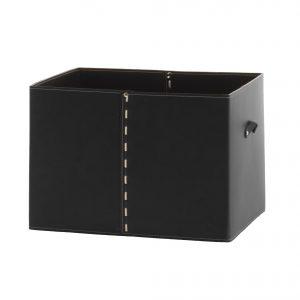 GABRY 03: Contenitore in cuoio colore Nero, con coperchio in cuoio per cabina armadio, raccoglitore per giocattoli, archivio documenti, disegnato da Limac Design®, 100% Made in Italy