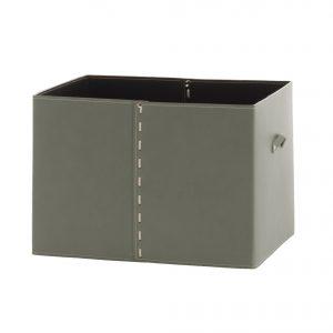 GABRY 03: Contenitore in cuoio colore Tortora, con coperchio in cuoio per cabina armadio, raccoglitore per giocattoli, archivio documenti, disegnato da Limac Design®, 100% Made in Italy