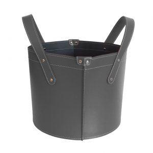 GARDA: portalegna in cuoio colore Antracite, contenitore per camino, borsa porta legna, per la casa, Ufficio, Hotel, design Firestyle®, Made in Italy.