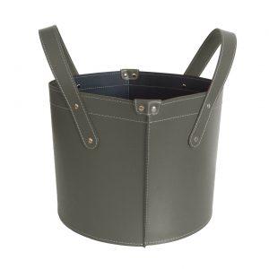 GARDA: portalegna in cuoio colore Tortora, contenitore per camino, borsa porta legna, per la casa, Ufficio, Hotel, design Firestyle®, Made in Italy.
