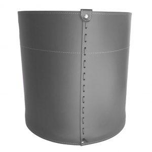GIRO: portalegna in cuoio colore Antracite, contenitore per camino, borsa porta legna, per la casa, Ufficio, Hotel, design Firestyle®, Made in Italy.