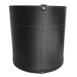GIRO: portalegna in cuoio colore Nero, contenitore per camino, borsa porta legna, per la casa, Ufficio, Hotel, design Firestyle®, Made in Italy.