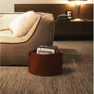 GIUSY: portariviste in cuoio colore Marrone, borsa in cuoio, cesto, cestino, contenitore, Made in Italy  by Limac Design®.