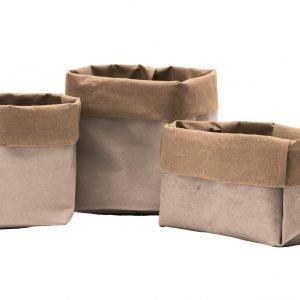 IOLE 31: Set da 3 contenitori in cuoio rigenerato bi-colore, Beige-Avana, sacchetto, organizer, contenitore per cucina, bagno, porta fiori, porta pane. Prodotto da Limac Design®, Made in Italy.