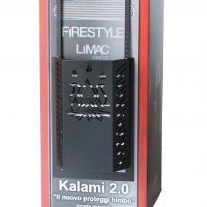 KALAMI' 4: Protezione Salvaustioni per Stufa a pellet e a legna, proteggi bimbi e animali domestici, doppio schermo di sicurezza e staffe fissaggio, disegnato da Firestyle®, 100% Made in Italy.