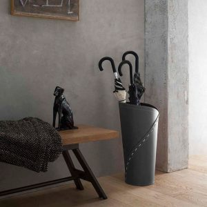 KATRINA: porta-ombrelli in cuoio Antracite, portaombrelli di design con vaschetta raccogligocce, portaombrello made in Italy Limac Design®.