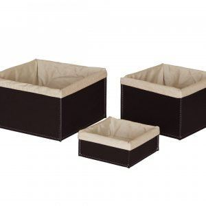 Set of 3 Storage Basket in leather KETTY