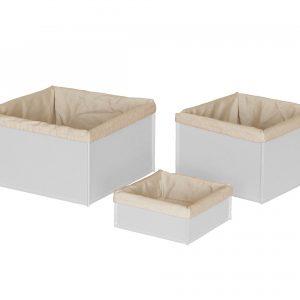 KETTY SET: Set cesti portaoggetti in cuoio colore bianco con fodera in cotone, contenitore, cestino, scatola in cuoio.Made in Italy. Limac Design®.
