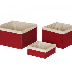 KETTY SET: Set cesti portaoggetti in cuoio colore rosso con fodera in cotone, contenitore, cestino, scatola in cuoio.Made in Italy. Limac Design®.