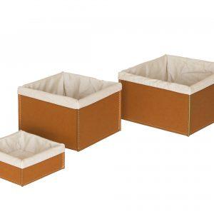 KETTY SET: Set cesti portaoggetti in cuoio colore marrone con fodera in cotone, contenitore, cestino, scatola in cuoio.Made in Italy. Limac Design®.