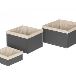 KETTY SET: Set cesti portaoggetti in cuoio colore antracite con fodera in cotone, contenitore, cestino, scatola in cuoio.Made in Italy. Limac Design®.