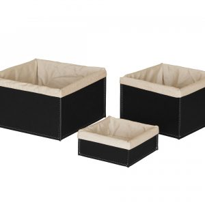 KETTY SET: Set of 3 Storage Basket in leather Black colour With Removable Washable Lining, round storage baskets, organizers, Box.Made in Italy. Limac Design®.
