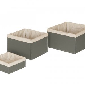 KETTY SET: Set of 3 Storage Basket in leather Taupe colour With Removable Washable Lining, round storage baskets, organizers, Box.Made in Italy. Limac Design®.