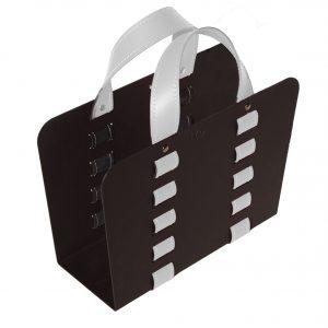 L-BAG 02: portariviste in acciaio e cuoio colore Bianco, borsa in cuoio, cesto, cestino, contenitore, Made in Italy, Limac Design®.