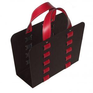 L-BAG 02: portariviste in acciaio e cuoio colore Rosso, borsa in cuoio, cesto, cestino, contenitore, Made in Italy, Limac Design®.