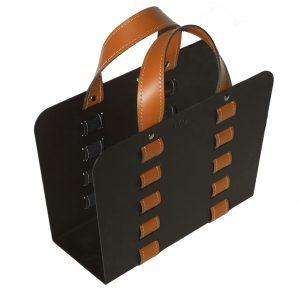 L-BAG 02: portariviste in acciaio e cuoio colore Marrone, borsa in cuoio, cesto, cestino, contenitore, Made in Italy, Limac Design®.