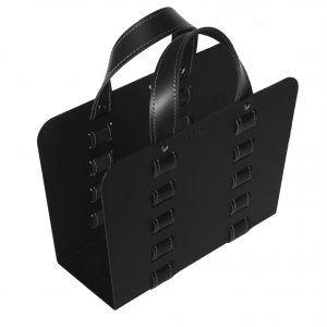 L-BAG 02: portariviste in acciaio e cuoio colore Nero, borsa in cuoio, cesto, cestino, contenitore, Made in Italy, Limac Design®.