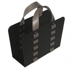 L-BAG 02: portariviste in acciaio e cuoio colore Tortora, borsa in cuoio, cesto, cestino, contenitore, Made in Italy, Limac Design®.