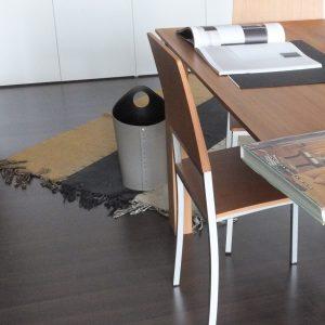 AMBROGIO: cestino gettacarte in cuoio colore bianco, gettacarte di design, per casa e ufficio, Limac Design®.