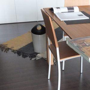 AMBROGIO: cestino gettacarte in cuoio colore testa di moro, gettacarte di design, per casa e ufficio, Limac Design®.