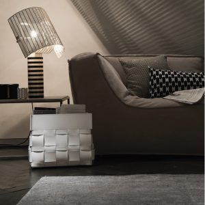 LORY: portariviste in cuoio intrecciato colore Marrone, borsa in cuoio, cesto, cestino, contenitore, Made in Italy by Limac Design®.