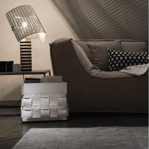 LORY: portariviste in cuoio intrecciato colore Antracite, borsa in cuoio, cesto, cestino, contenitore, Made in Italy by Limac Design®.