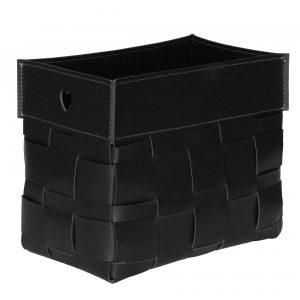 LORY: portariviste in cuoio intrecciato colore Nero, borsa in cuoio, cesto, cestino, contenitore, Made in Italy by Limac Design®.